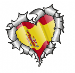 Ripped Torn Metal Heart with Waving Spain Spanish Country Flag Motif External Car Sticker 105x100mm
